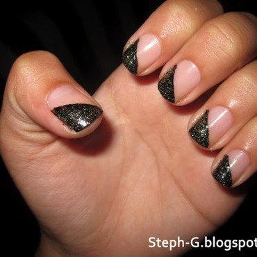 Edgy black tips nail art by Stephanie Godo