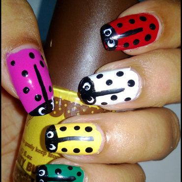Colorful lady bug nail art thumb370f