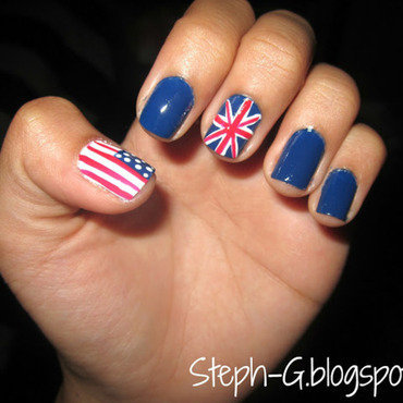 Flags nail art by Stephanie Godo