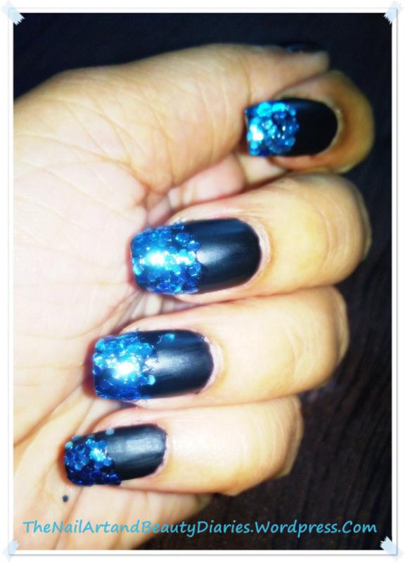 Dipped in Blue Glitter Nails nail art by Setu Rohini