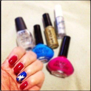 X Me Red & Blue nail art by Milpa  InternNails