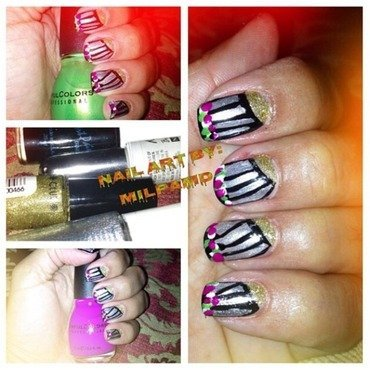Nail Art Paint Gold, Nail Art Paint Silver, SinfulColors Happy Ending, SinfulColors Dream On, and Nail Art Paint Black Swatch by Milpa  InternNails