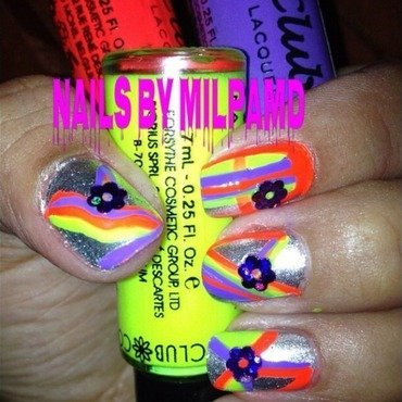 SinfulColors Silver, Nail Art Paint Purple, Nail Art Paint Neon Yellow, and Nail Art Paint Neon Green Swatch by Milpa  InternNails