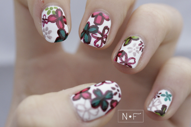 Floral skirt nail art by NerdyFleurty