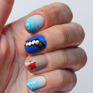 Navy Nails nail art by Fran Nails