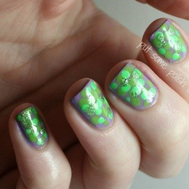 all the green dots nail art by Crystal