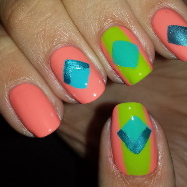 Bright Geometric nail art by Jillian Harrison