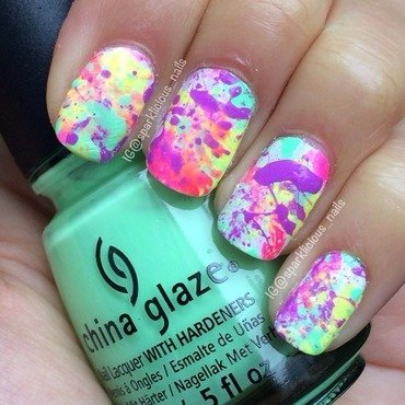"Neon Splatter nail art by Amanda ""Sparklicious Nails"""