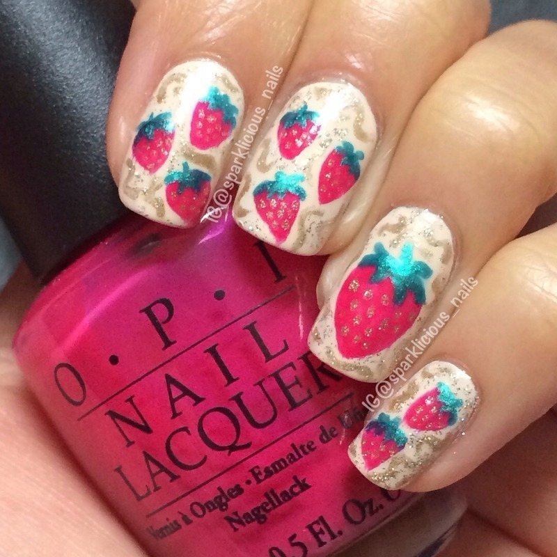 "Strawberry Patch nail art by Amanda ""Sparklicious Nails"""