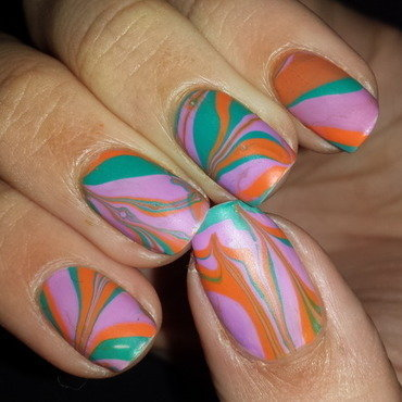 Funky Water Marble nail art by Jillian Harrison