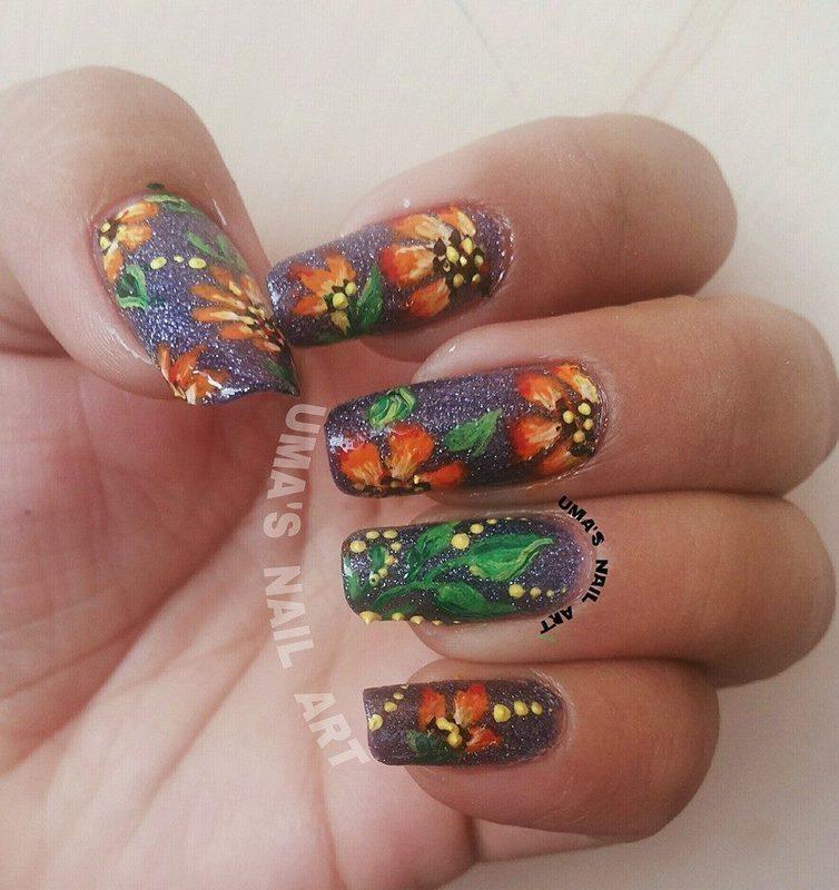 Blossem on rock. nail art by Uma mathur