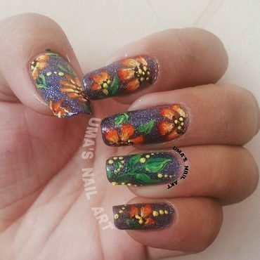 Blossem on rock. nail art by Uma mathur