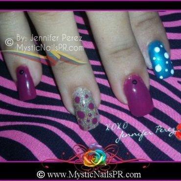 Berry Merry Polka Dots by Jennifer Perez nail art by Jennifer Perez ♥ Mystic Nails