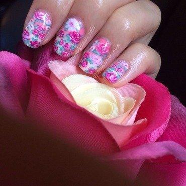 "Vintage Florals nail art by Amanda ""Sparklicious Nails"""