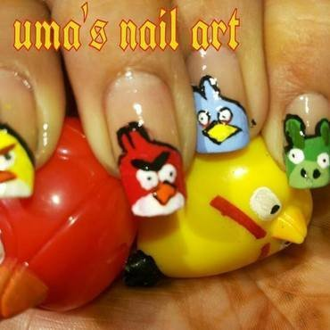 Engry Birds nail art by Uma mathur