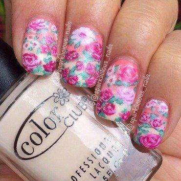 "Gradient Vintage Florals nail art by Amanda ""Sparklicious Nails"""