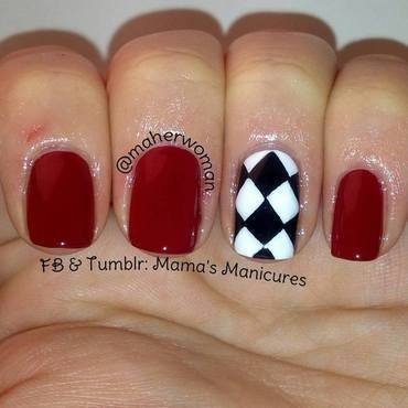Checkered Nail Art nail art by Mama's Manicures (maherwoman)