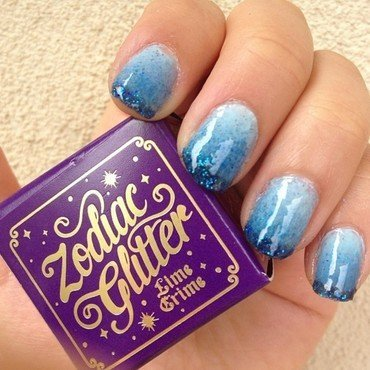 Blue Ombre Glitter Tips nail art by Jessica-Anne