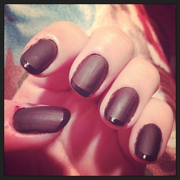 Matte Black With Clear Tips nail art by Jessica-Anne