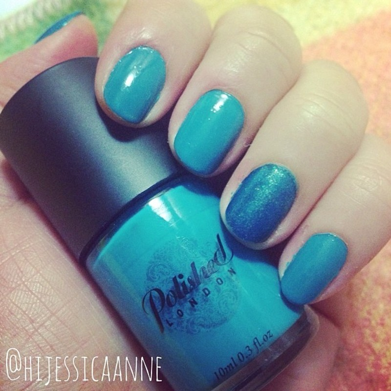 Polished London Buckingham Blue and Sinful Cosmetics Kissy Swatch by Jessica-Anne