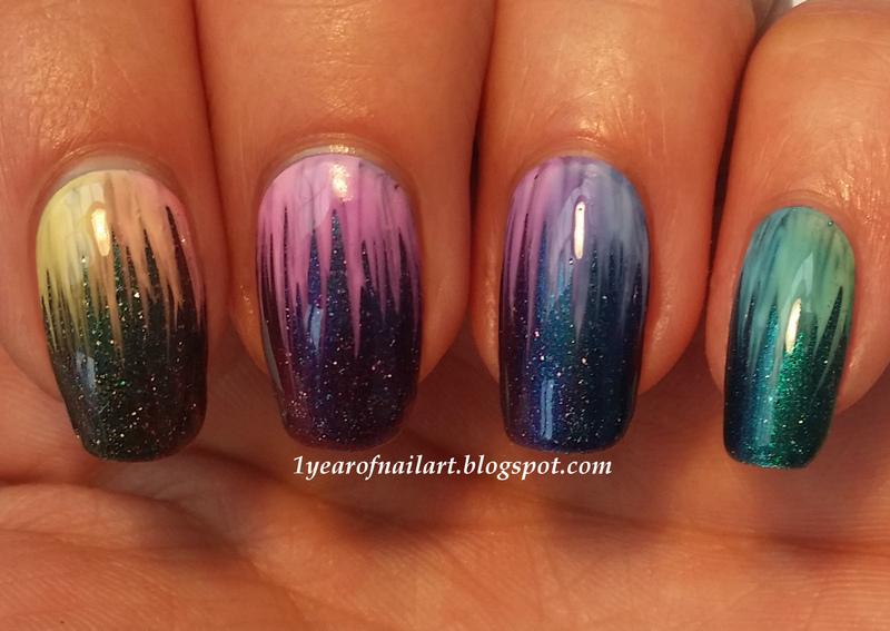 Rainbow waterfall nail art by Margriet Sijperda