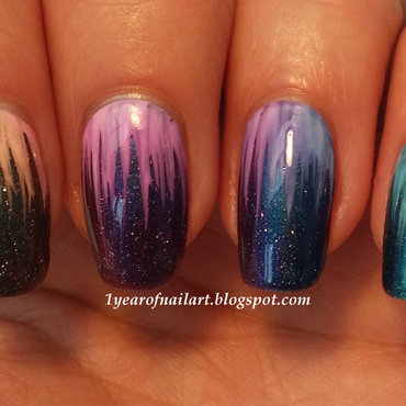 Rainbow waterfall nail art by Margriet Sijperda