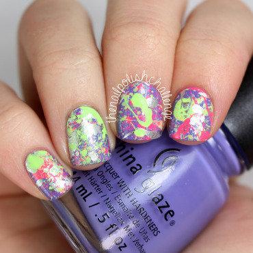 Neon Splatter Nail Art nail art by Kelli Dobrin