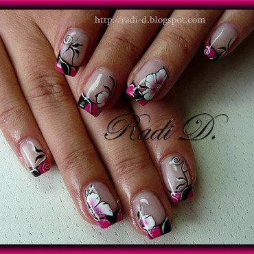 Hot pink & Black nail art by Radi Dimitrova