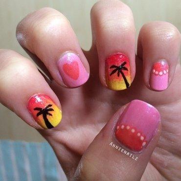 Carribean sunset love nail art by Annienailz