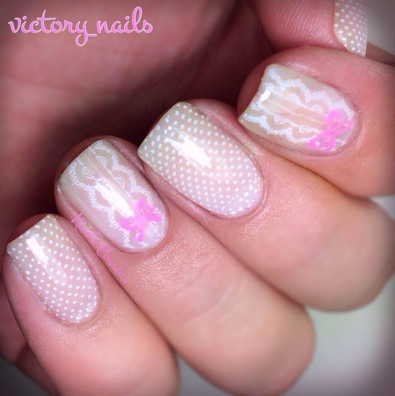White lace mani nail art by Nicole