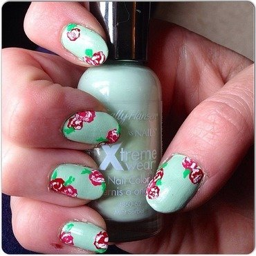 Simple floral  nail art by Kathleen