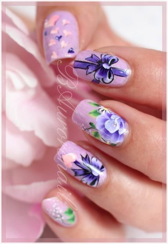 Du violet pour ma maman nail art by BAurorenail