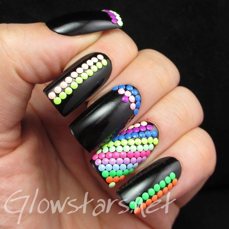 Featuring Born Pretty Store Round Neon Studs nail art by Vic 'Glowstars' Pires