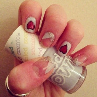 Hearts and Criss Cross French nail art by Kimberley