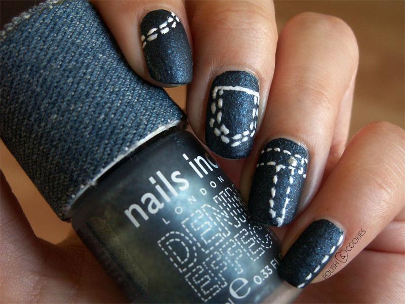 Denim Effect nail art by PolishCookie