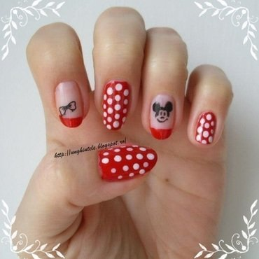 Mickey&Minnie nail art by Oana  Alexandru