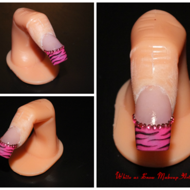 Pink Zebra Bling nail art by Beth Marie