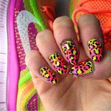 Leopard Neon Nike nail art by Amanda