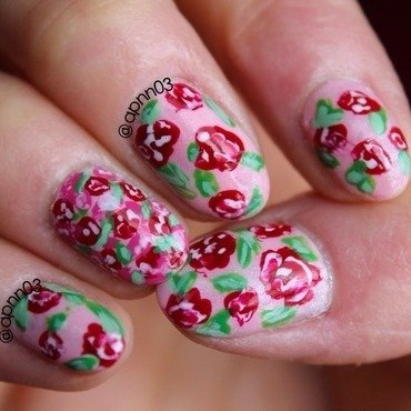 Roses and Thoughts  nail art by Amanda