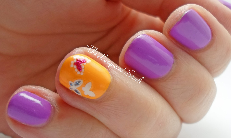 Butterfly's Drinking Nectar nail art by Emma N.