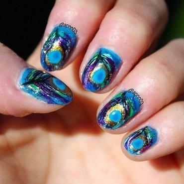Peacock Sniffles nail art by Amanda