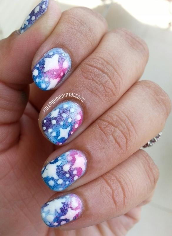 Galaxy nails nail art by Manisha Manimatters