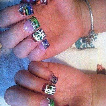 Rainbow Chanel Zebra nail art by Beth Marie