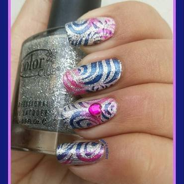 Glittery waves.... nail art by Uma mathur