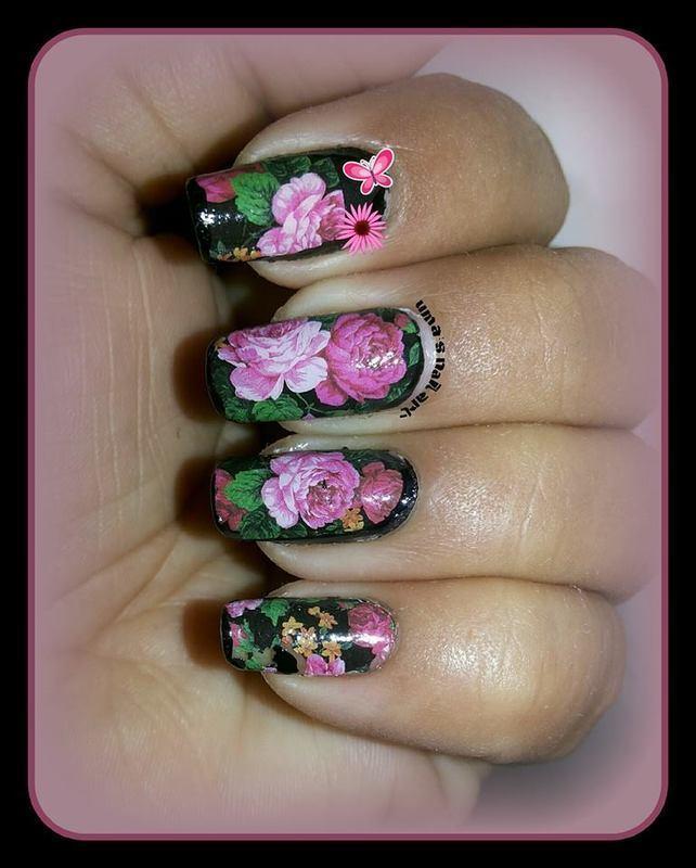 rose garden.... nail art by Uma mathur