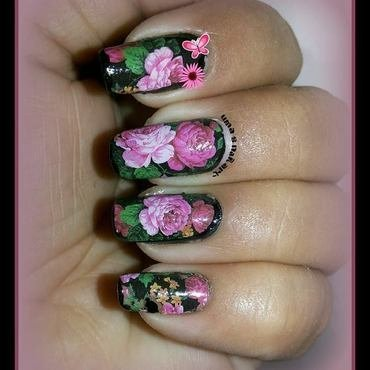 rose garden.... nail art by Uma mathur