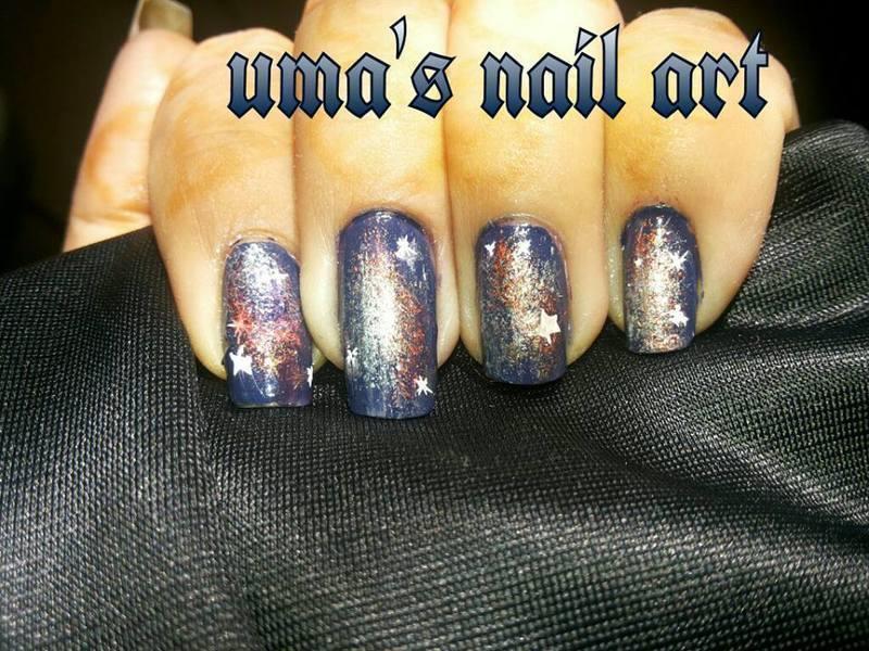 galaxy nails.... nail art by Uma mathur