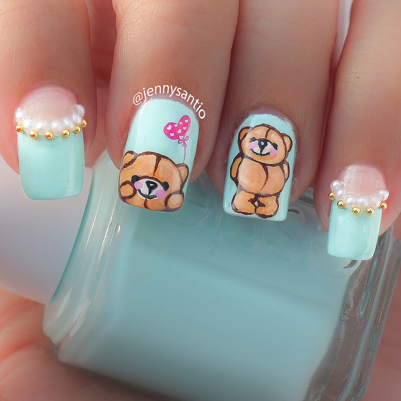 forever friends bear nail art by Jenny sanyoto