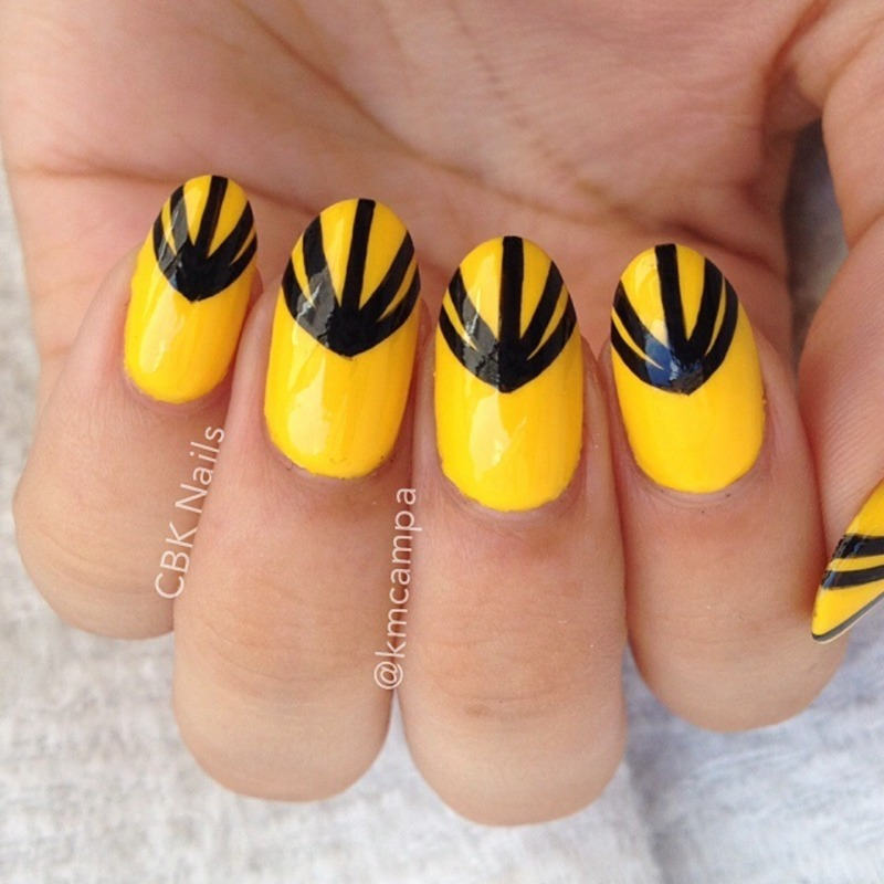 Black on Yellow nail art by Kasey Campa