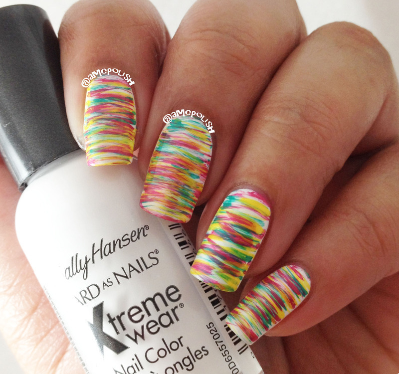 Colorful Fan Brush Mani nail art by Amber Connor